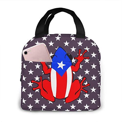Portable Lunch Bag Puerto Rico PR Coqui Arm Reusable Insulated Lunch Bag Camping Bag Portable Tote Box Meal Prep Or Travel