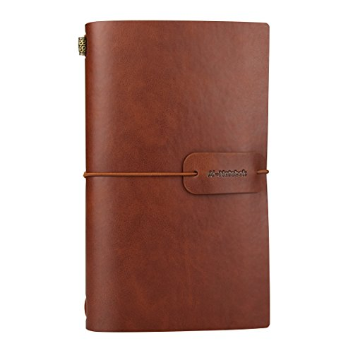Vintage PU Leather Travel Notebook Refillable Journals Lined Paper Diary Planner Writing Notepad Pocket Note Book for Men & Women, 4.72 x 7.87 inches, 80 Sheets/160 Pages(Brown)