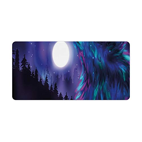 Extended Gaming Mouse Pad with Stitched Edges Waterproof Large Keyboard Mat Non-Slip Rubber Base Northern ry with Aurora Borealis Wolf Spirit Forest Starry Night Desk Pad for Gamer Office 12x24 Inch