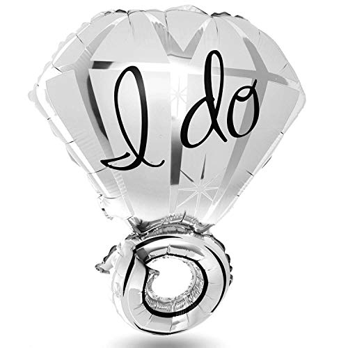 Bruidspaar luchtballonnen trouwring heliumballon verlovingsring huwelijksdecoratie folieballonnen verloving & bruiloft; goud & zilver