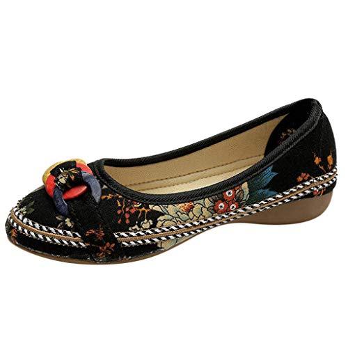 COZOCO Frauen ethnische Perlen Bunte Casual bestickte Schuhe Holz Hanf Seil Schuhe gedruckt Tuch Schuhe(schwarz,40 EU)
