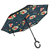 Little Devil Of Christmas Double Layer Inverted Umbrella With C-Shaped Handle, Anti-UV Waterproof Windproof Straight Reverse Umbrella For Car Rain Outdoor Use