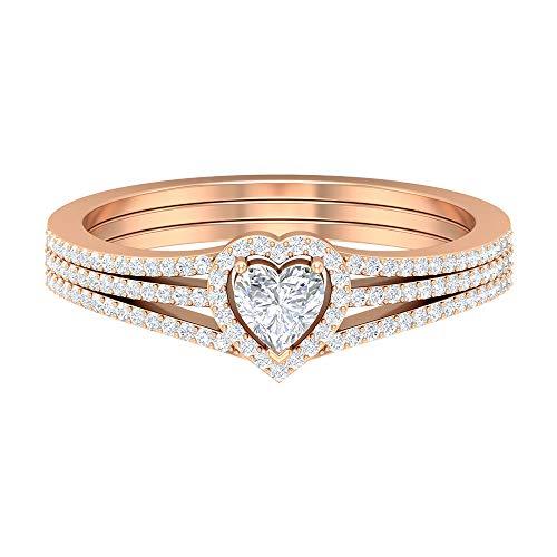 Anillo de halo de diamantes HI-SI de 3/4 quilates, anillo de tres filas, anillo de compromiso solitario de oro, oro de 14 quilates