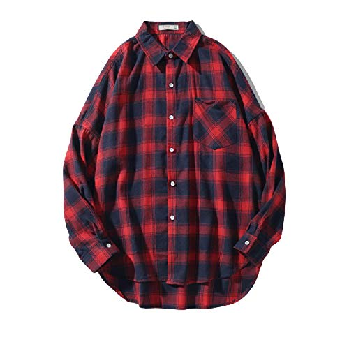 Camisa de Manga Larga para Hombre Camisa de un Solo Bolsillo Estampada a Cuadros Azul-Verde Camisa Suelta de Gran tamaño Transpirable con Botones 4X-Large