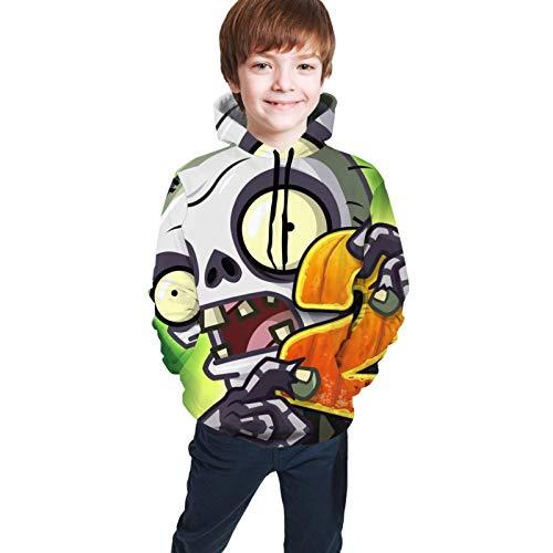 Tengyuntong Kapuzenpullover, Jugend Kinder Hoodie Sweatshirt Langarm Unisex Jugend Teen Boy Girl Pflanzen Vs. Zombies 3D Digital Print Pullover Schwarz