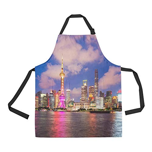 NQEONR Durable Oriental Pearl Sign Building Travel All Over Print Apron with an Adjustable Neck&Two Spacious Front Pocketst Unisex Kitchen Home Restaurant Apron for Baking Gardening