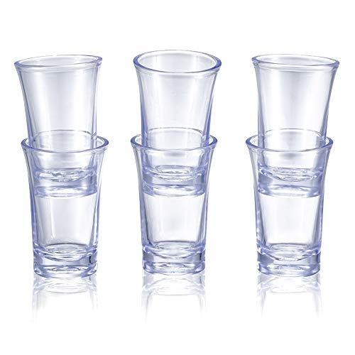 YTATY 6 vasos de chupito dispensador de 6 vasos de chupito dispensador y soporte para colgar, soporte para beber, dispensador de chupitos de cóctel, dispensador de chupito de bar, taza transparente