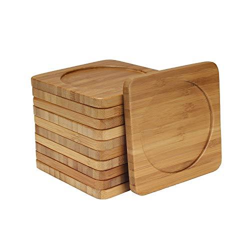 BambooMN Heavy Duty 100% Eco-Friendly Natural Bamboo Coasters - 3.75' x 3.75' - Square - 4 Piece Coaster Set