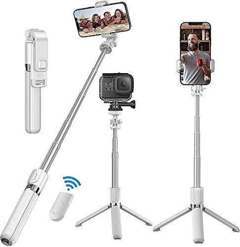 Selfie Stick Stativ, 3 in 1 Bluetooth Selfiestick, Selfie-Stange Stab 360°Rotation mit Bluetooth-Fernauslöse für iPhone Samsung Huawei Android 4-6.5 Zoll(Weiß)