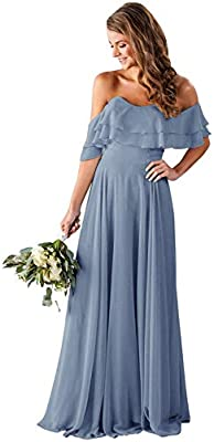 Clothfun Off Shoulder Bridesmaid Dresses Chiffon Long 2021 Formal Dresses for Women with Pockets Dusty Blue 10
