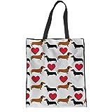 HUGS IDEA Women's Top Handle Bag Cartoon Kawaii Dachshund Dog Heart Printed Cotton Canvas Grocery Totes Beach Handbags for Teens
