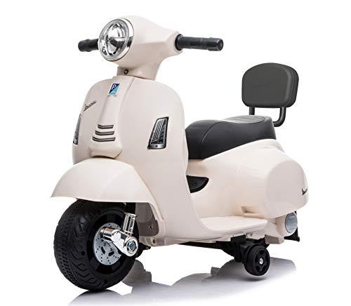 Mondial Toys Moto ELETTRICA per Bambini Mini Vespa GTS Piaggio 6V con Schienale Sedile in Pelle LUCI Suoni Bianco