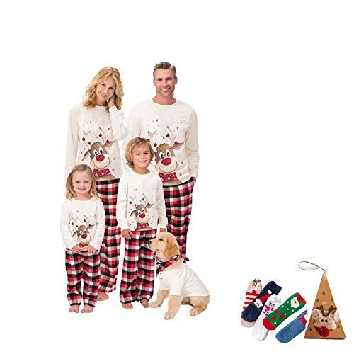 Christmas Matching Pajamas,Holiday 100% Organic Cotton Xmas Deer Parent-Kid Pajamas,with A Pair Fashion Christmas Socks (Size : Mother 3XL)