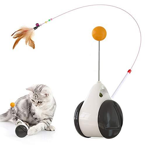 猫のおもちゃ 猫じゃらし タンブラーバランス車 自動回転 ネコ おもちゃ 天然鳥の羽棒鈴付き 遊び好き天性満足 運動不足 ストレス解消 知育玩具 ペット用品 安全素材