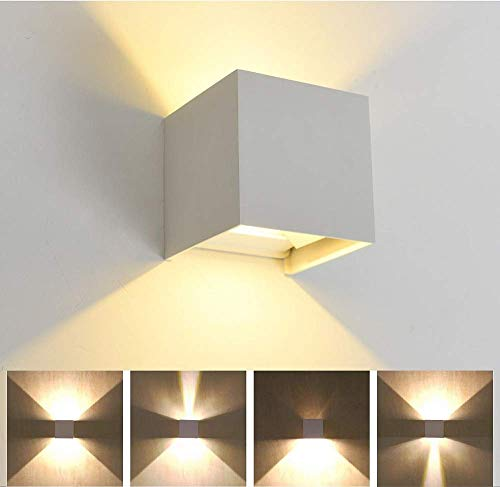 Vanja LED Applique da Parete da Interno/Esterno, Lampadina da Incasso da 12W, Lampada da Parete a Luce Calda 3000K con Angolo Regolabile, IP65 Impermeabile, AC85-265V