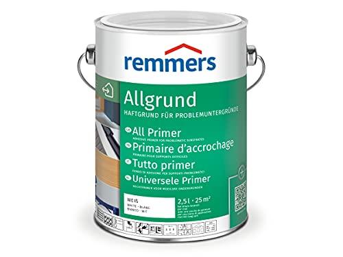 Remmers Allgrund weiß, 2,5 Liter, wasserbasierter Haftgrund für Metall, Kunststoff und Holz, mit Rostschutz und Isoliergrund, für innen und außen, sehr gute Haftung, umweltgerecht, geruchsmild