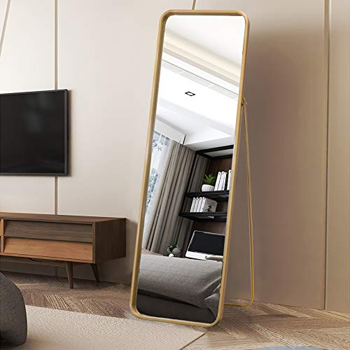 VINGLI Full Length Mirror Metal Frame Floor Mirror with Stand Dressing Mirror in Bedroom/Living Room/Bathroom Full Body Wall-Mounted Mirror with Round Corner (Gold)