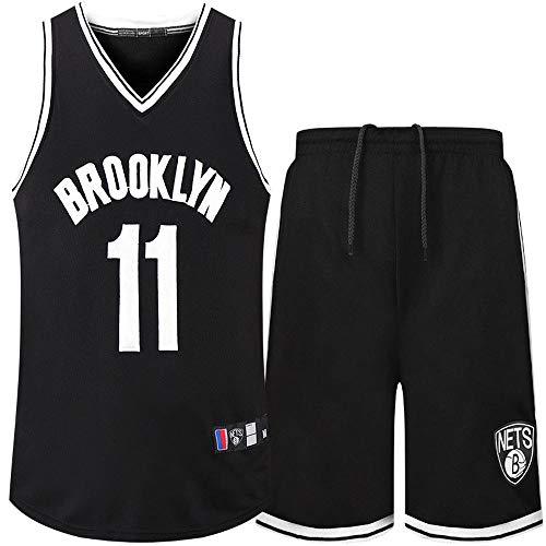 QKJD NBA Abbigliamento Basket Reti n. 11 Set Divisa da Basket in Jersey Ricamato di Irving's Secret City Edition Set Top + Pantaloni Black-L