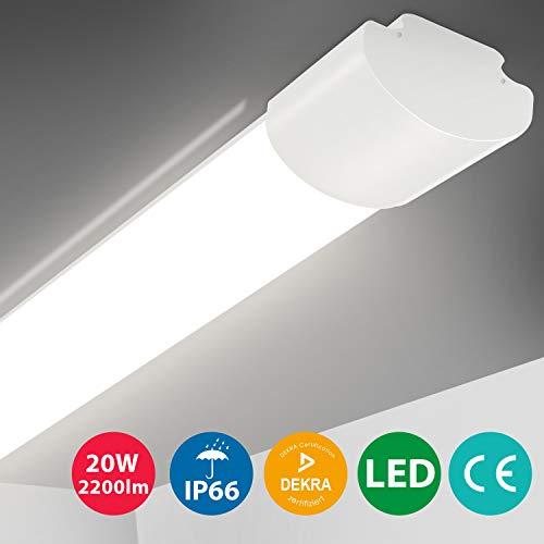 Oeegoo LED Feuchtraumleuchte 60cm, 20W 2200LM(110Lm/W) LED Deckenleuchte, IP66 Wasserdichte LED Lampe Wannenleuchte, Flimmerfreie LED Deckenlampe für Feuchtraum Garage Lager Werkstatt Garten 4000K