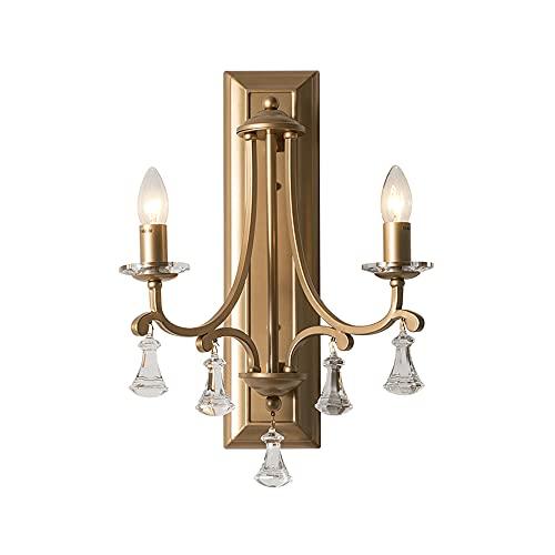 AZPINGPAN Candelabro de Pared de Lujo American Light, lámpara de Arte de Hierro, decoración Colgante de Cristal para el Cuerpo, lámpara de Noche para Dormitorio, Luces de Pared, Cabeza