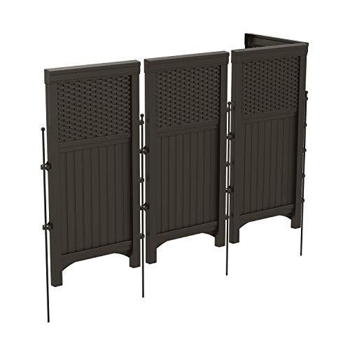 Suncast 4 Freestanding Wicker Resin Reversible Outdoor Panel Screen Enclosure, Brown