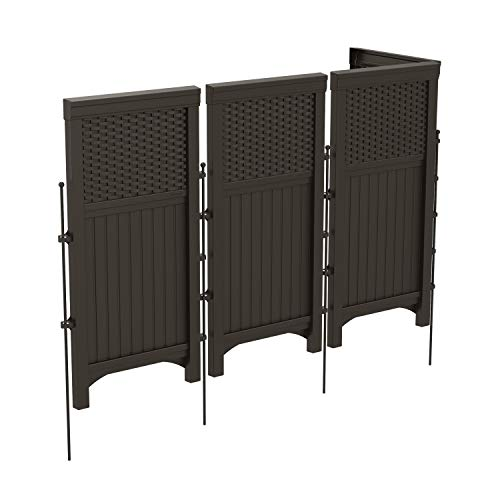 Suncast 4 Freestanding Wicker Resin Reversible Outdoor Panel Screen Enclosure, Brown