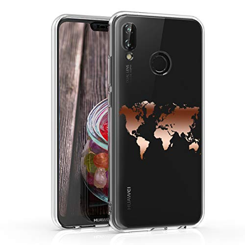 kwmobile Cover Compatibile con Huawei P20 Lite - Back Case Custodia Posteriore in Silicone TPU per Smartphone - Backcover Contorni Oro Rosa/Trasparente