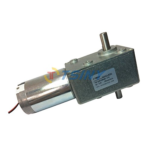 TSINY High Torque Reversible 12vdc Electric Metal Right Angle Gear Motor with 10mm Double Shaft Worm Reducer 28 RPM Out Speed