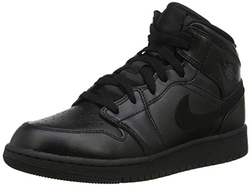Nike Jungen AIR Jordan 1 MID (GS) Basketballschuhe, Schwarz (Black/Black/Black 090), 37 1/2 EU
