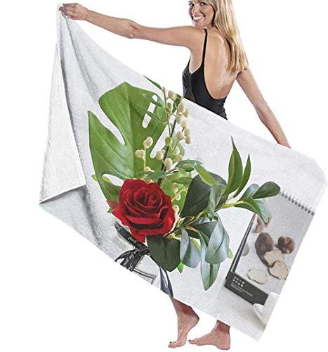 Las toallas de baño de microfibra súper suaves se utilizan para baños en interiores, piscinas de aguas termales y spa de hoteles,Hojas de tortuga y flores rojas The FiveStar Hotel Quality Collecti