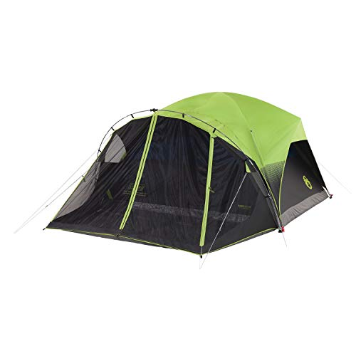 Coleman Camping Tent with Screen Room | 6 Person Carlsbad Dark Room Dome Tent with Screened Porch , Green/Black/Teal