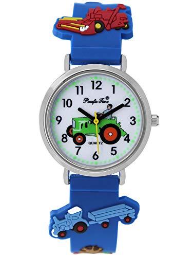Pacific Time Jungen Uhr Traktor Trecker Bauernhof Glow in The Dark analog Quarz mit Silikonarmband blau 86833