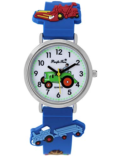 Pacific Time Jungen Uhr Traktor Trecker Bauernhof Glow in The Dark analog Quarz mit Silikonarmband blau 86833