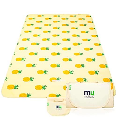 MIU COLOR Extra Large Picnic Blankets, Outdoor Blanket 80'x60' Dual Layers, Sandproof & Waterproof Beach Blanket, Handy Mat Tote for Camping on Grass, Beach with Family, Friends, Kids