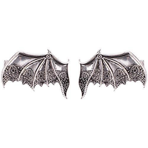 FRCOLOR 2pcs Gothic Hair Clip Metal Bat Wings Hair Barrettes Vintage Halloween Hair Clip for Party Costume (Silver)