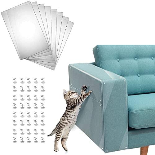 FayTun Möbel Kratzer Guards, 8 Pcak Katze Kratzer Schutz mit Pins Kratzer Guards klare Katze Kratzer Schutz, Katze Anti Scratch Selbstklebende Pads (8PCS/30 * 45cm)