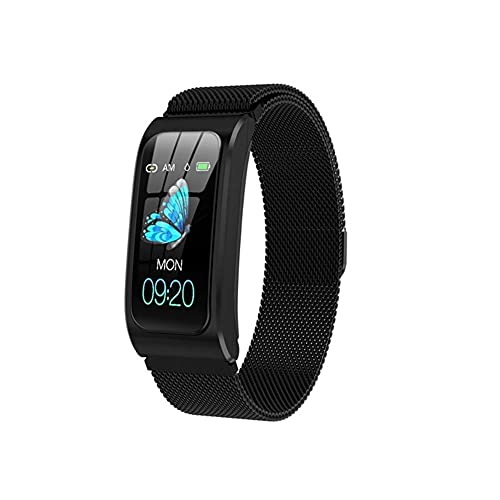 IP68 A Prueba de Agua Pulsera de Aptitud Inteligente GPS Tracker Pedómetro Smart Watch Mujeres Android Reloj Muyer Relogio Feminino Relojes Saati (Color : Steel Black)