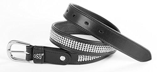 Ledergürtel ''Princess'', schwarz, silberf.Schnalle, brillliant, 75 cm