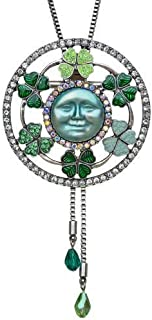 Kirks Folly Seaview Moon Fairy Circle of Clover Pin and Slide Necklace (Silvertone) St Patrick's Day Celtic Shamrock