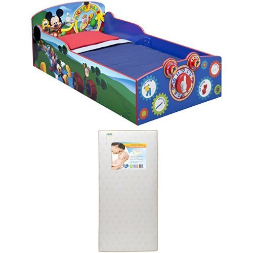 Delta Children Interactive Wood Toddler Bed, Disney Mickey Mouse with Twinkle Stars Crib & Toddler Mattress