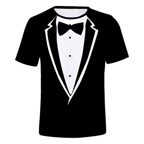 Yowablo Herren Hemd Hawaiihemd Freizeithemd Kurzarm Hemd Herren Kurzarm (XXL,Schwarz)