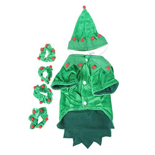 Balacoo Weihnachten Haustier Hund Kostüm Set Hund Elf Kostüm mit Pom Pom Dekoration Weihnachten Elf Outfit Haustier Party verkleiden Sich für kleine Hund Katze Welpe Kätzchen Größe m