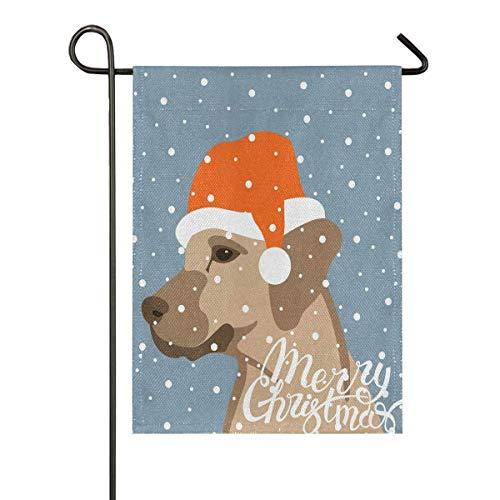 lovely baby-Z Hund mit Weihnachtsmütze, Sackleinen, Garten-Flagge, doppelseitig, für Haus, Hof, Urlaub, Saison, Outdoor, Dekoration, Flagge, 30,5 x 45,7 cm