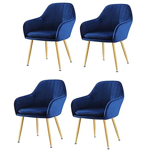 VEESYV Juego de 4 sillas de terciopelo suave para el asiento y el respaldo, patas de metal, sillas de cocina, sillas de recepción (color: azul oscuro)