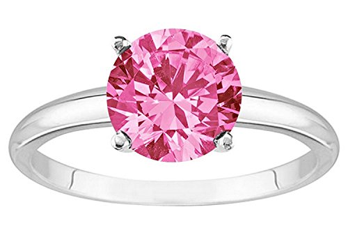 1/2 0.5 Carat 14K White Gold Round Pink Sapphire 4 Prong Solitaire Diamond Engagement Ring (AAA Quality)