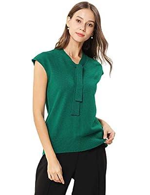 FINCATI Cashmere Sweater Vests Women Spring Summer Temperamental Top Shirt Bow Collar (Green, L) by