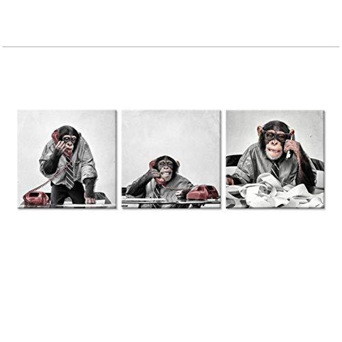 Grappige chimpansee aan de telefoon aan de balie Canvas Print Wall Art moderne Pop dierlijke Canvas schilderij voor woonkamer-50x50cm x3pcs geen Frame