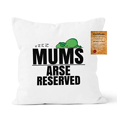 CCOVER Mums Arse Reserved Pillowcase Funny Novelty Gift, Cushion Cover Mums Gift with Certificate, 40x40 cm/16x16 inch, White