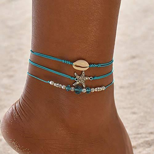 Zoestar Tobillera de estilo bohemio, con diseño de estrella de mar, para mujeres y niñas