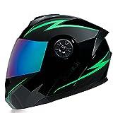 LHP Casco de Motocicleta Abatible Integrado Cascos modulares de Moto de Visera Doble con Visera Completa para Hombres y Mujeres Adultos Dot/ECE Homologado (Color : Green, Size : XL/X-Large 61-62cm)